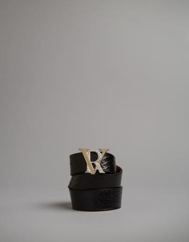 Black embossed snakeskin belt