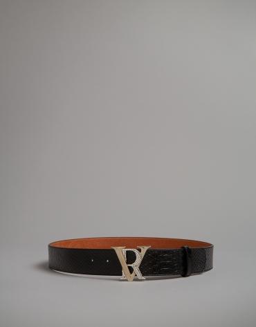 Cinturón grabado serpiente negro