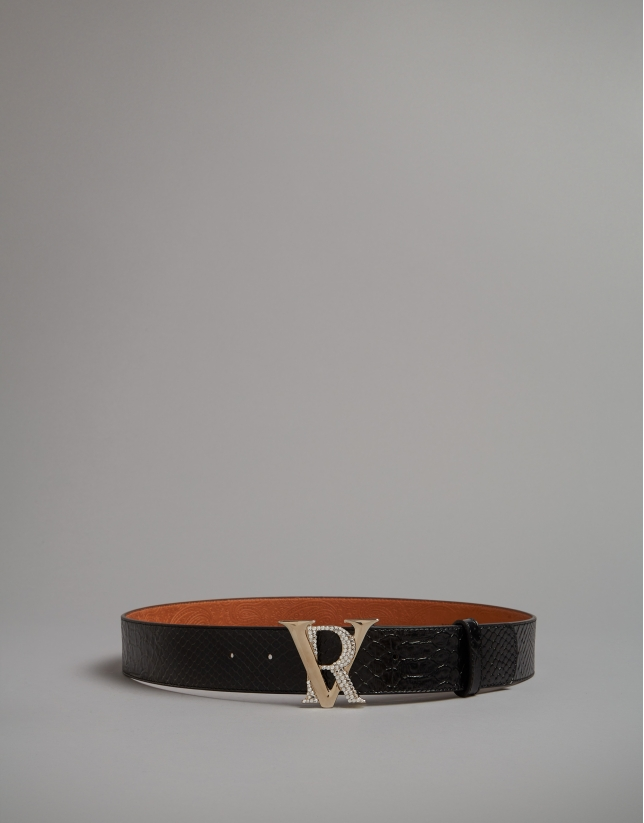 Black embossed snakeskin belt