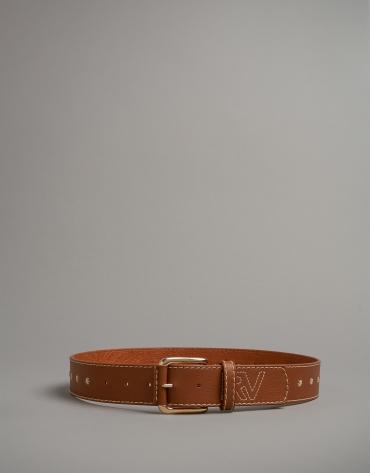 Cinturón piel marrón con bordado RV
