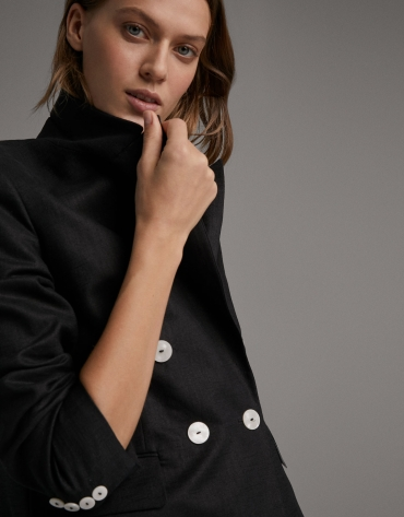 Black suit jacket with double row of buttons