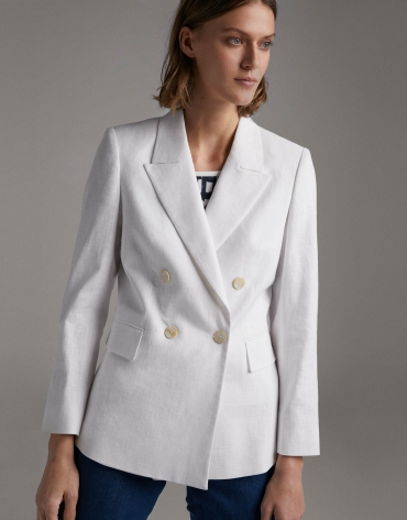 Beige suit jacket with double row of buttons