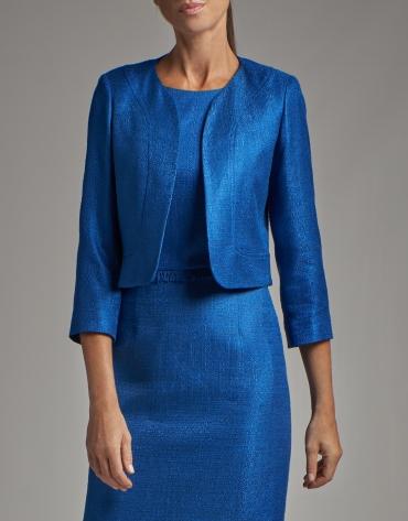 Cobalt blue bolero jacket with open collar
