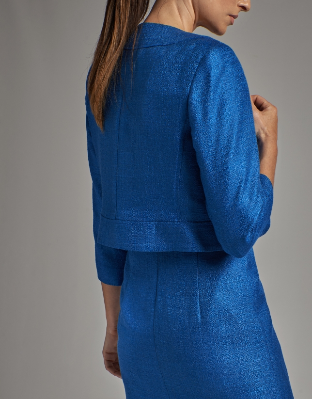 Cobalt blue bolero jacket with open collar
