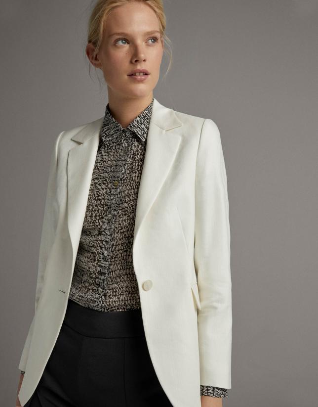 Ivory jacquard suit jacket