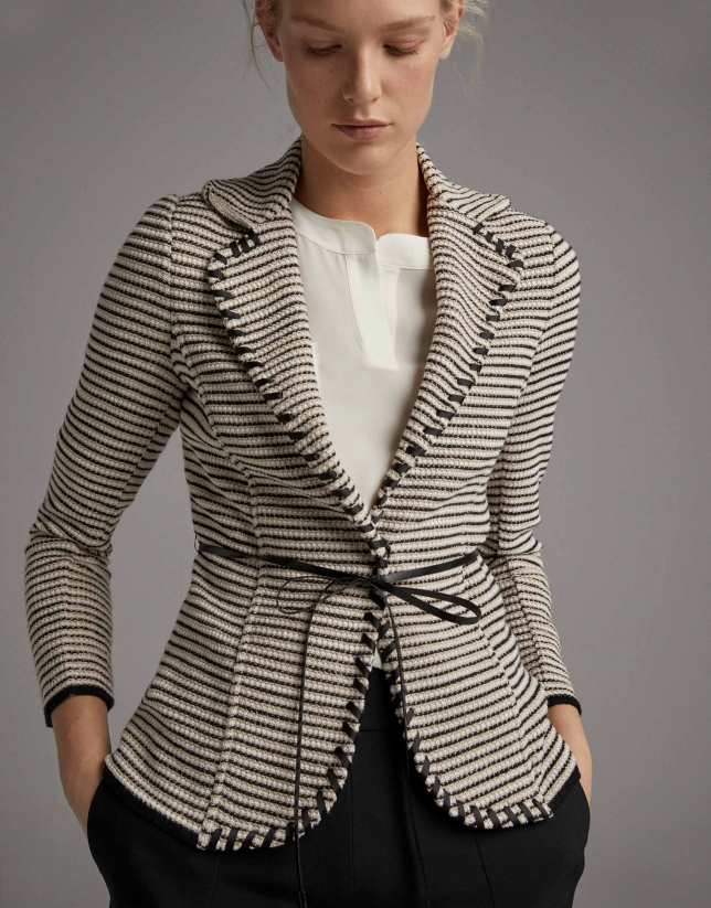 Black and white jacquard suit jacket