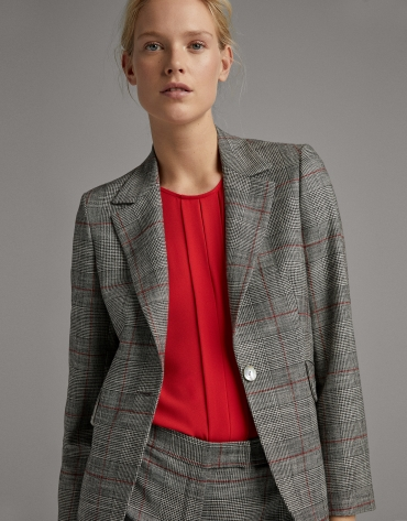 Black and burgundy glen plaid suit jacket