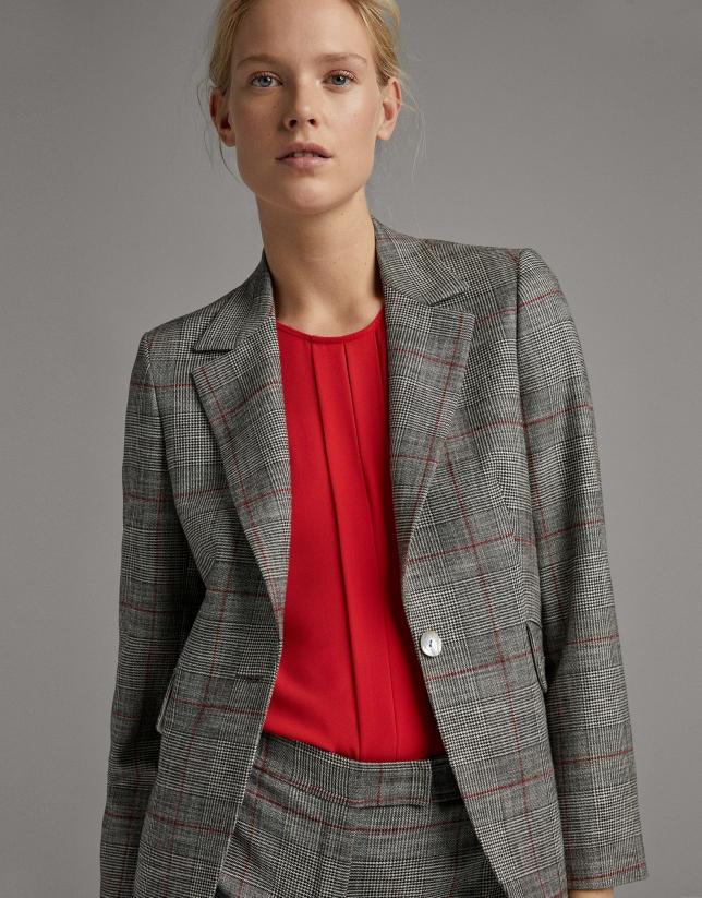 Black and burgundy glen plaid suit jacket