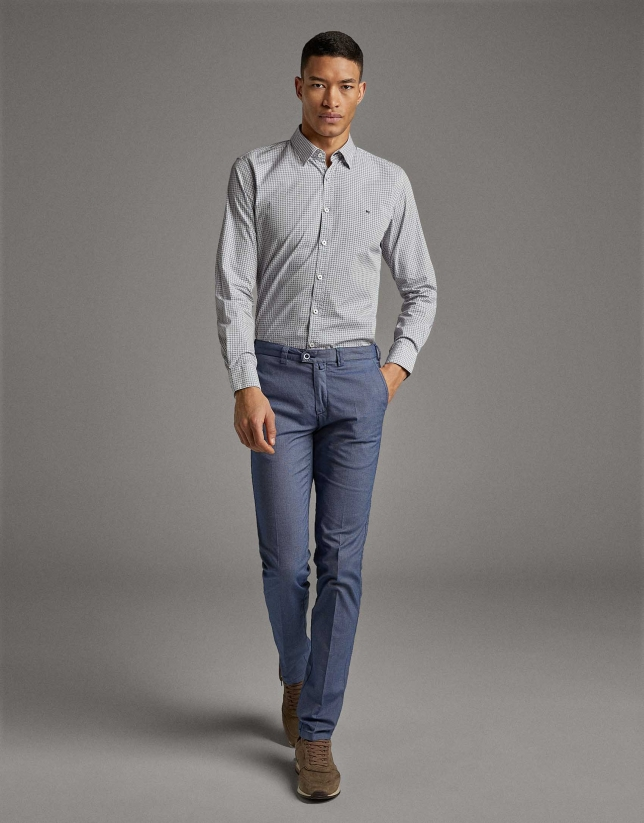 Blue structured chinos