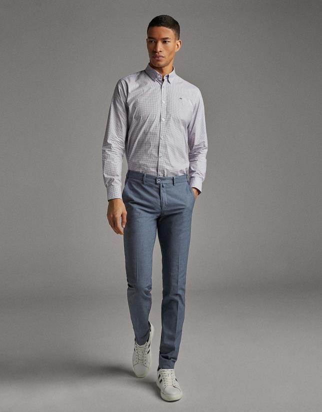 Pantalón chino falso liso azul