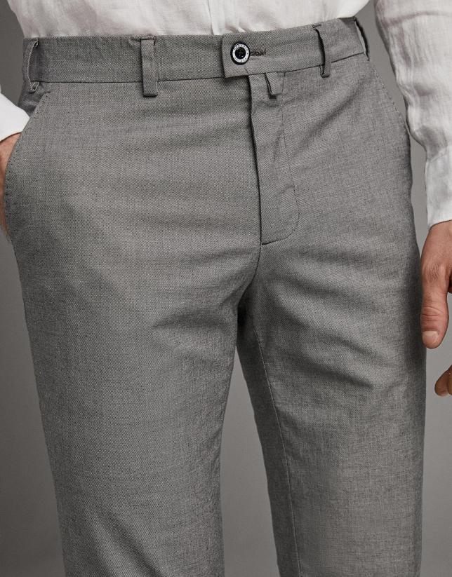 Pantalón chino falso liso marino