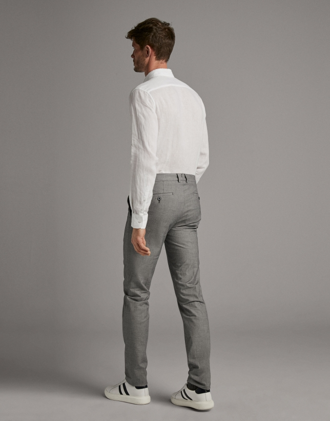 Navy blue fake plain chinos