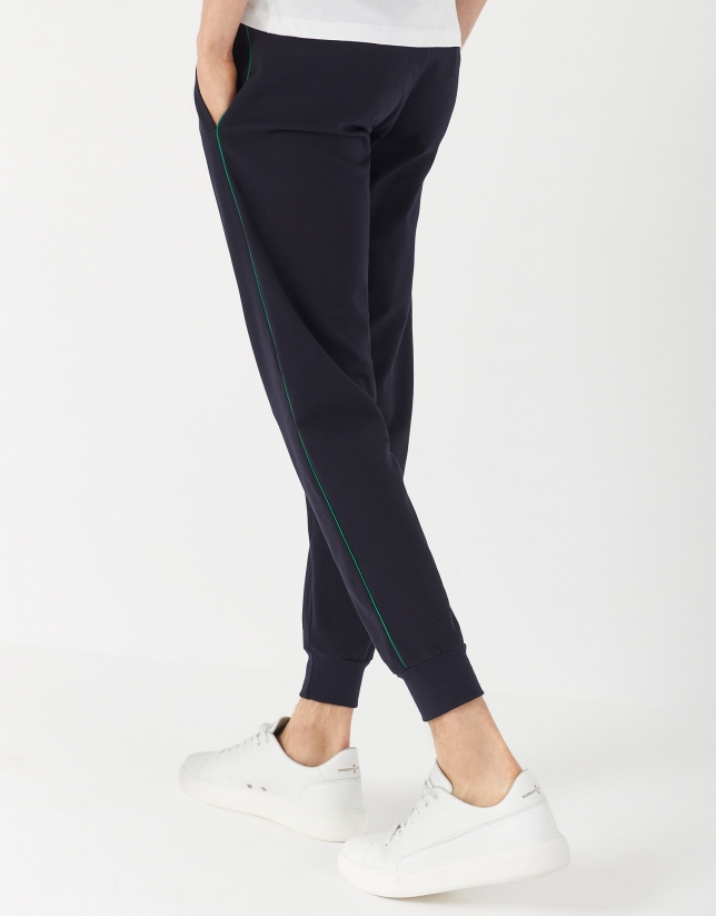 Jogging pants with green side stripe
