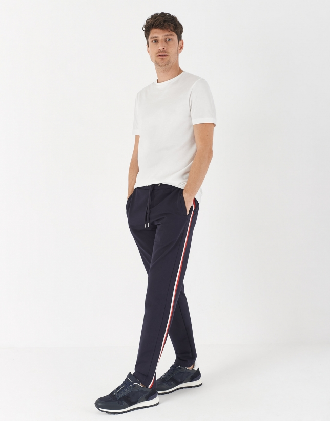 Jogging pants with red side stripe