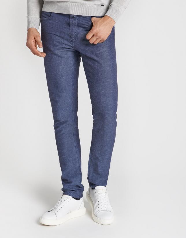 Pantalón cinco bolsillos estructura tonos azules