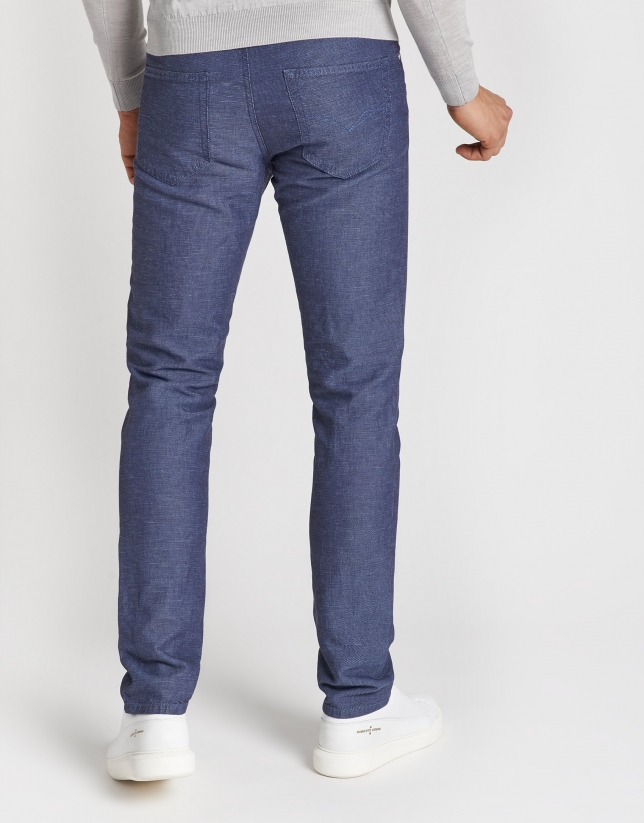 Blue tones structured pants with five pockets
