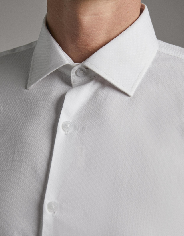 White checked micro-structured dress shirt