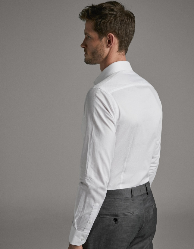 Camisa vestir microestructura cuadro blanco