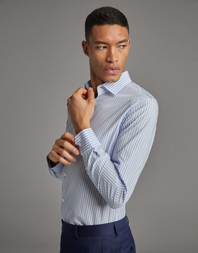 Light blue and white striped dress shirt