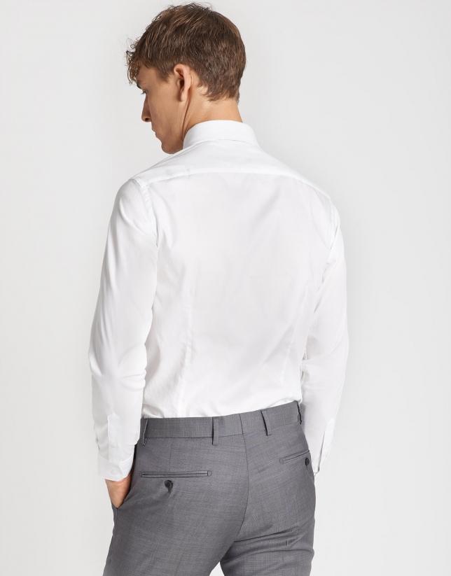 White diamond micro-structured dress shirt