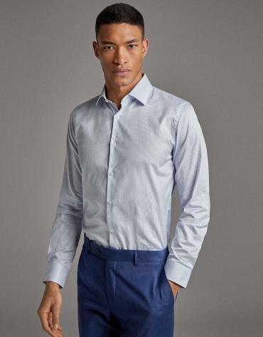 Camisa vestir raya celeste