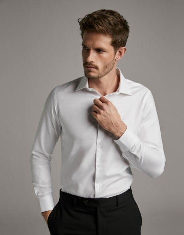 Camisa vestir estructura falso liso blanco