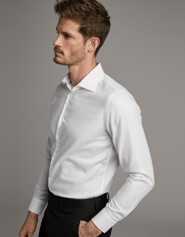 White fake plain structured dress shirt