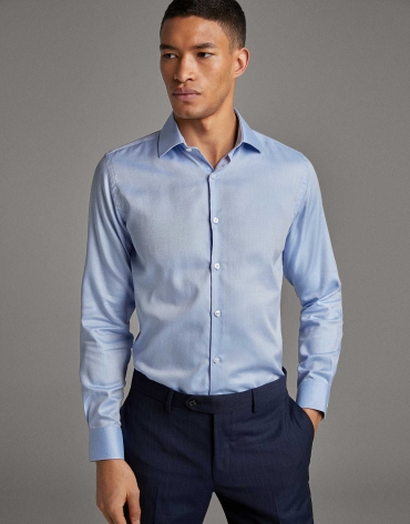 Light blue fake plain structured dress shirt