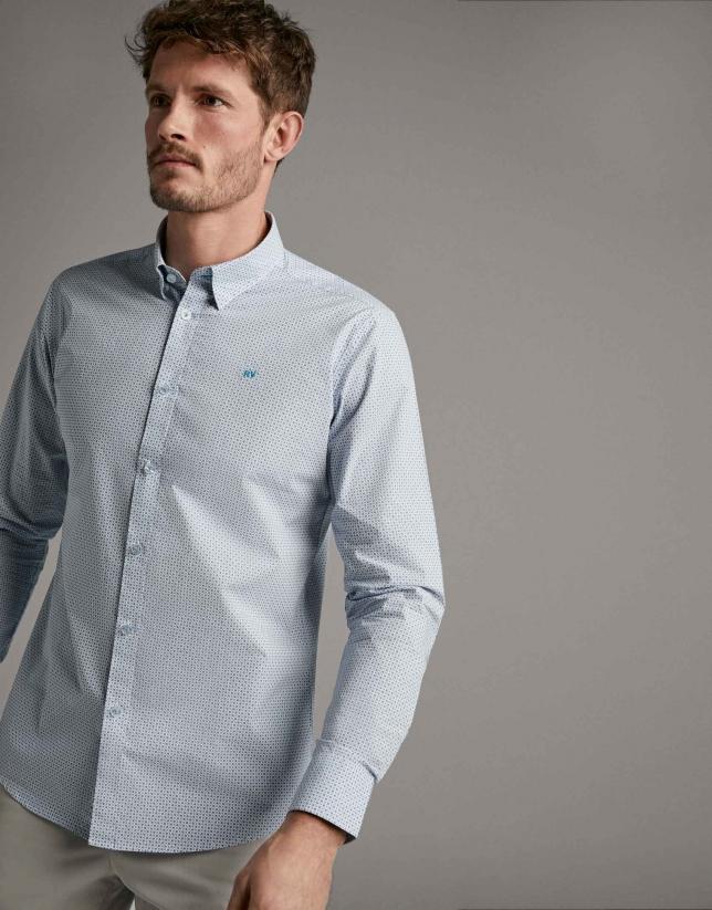 Camisa sport estampado geométrico turquesa
