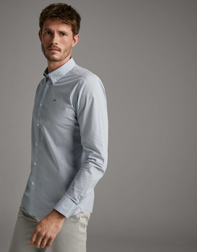 Turquoise geometric print sport shirt