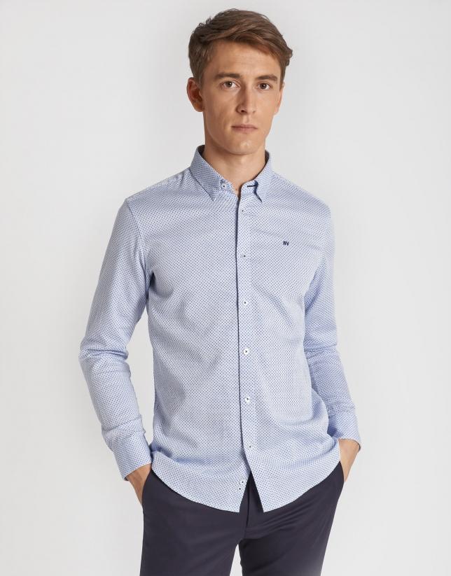 Camisa sport algodón estructurado azul