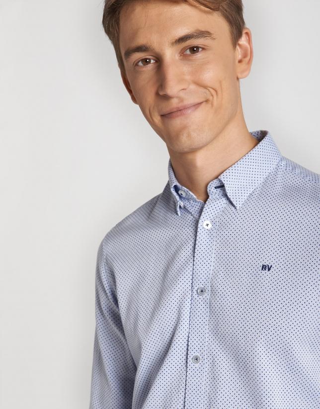 Blue structured cotton sport shirt