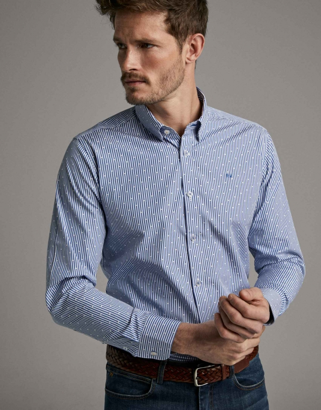 Blue striped sport shirt