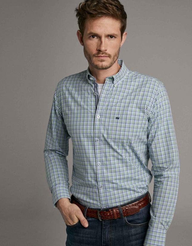 Blue/green checked sport shirt