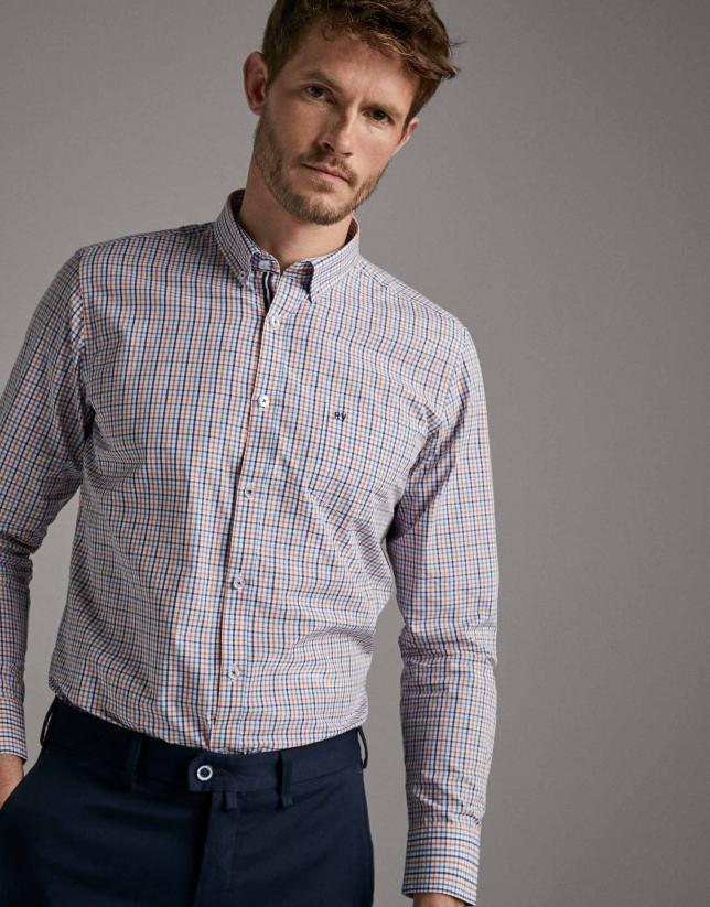 Blue/orange checked sport shirt