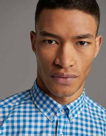 Turquoise checked Vichy sport shirt