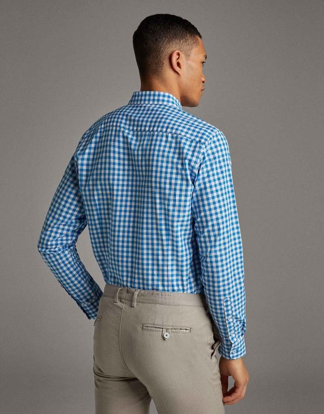 Camisa sport cuadro vichy turquesa
