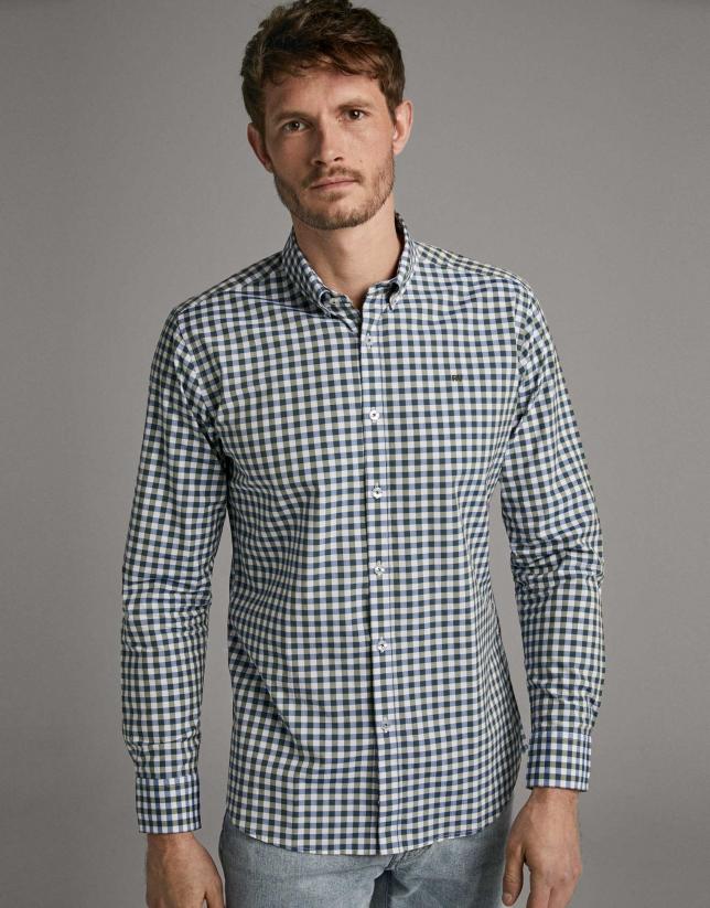 Camisa sport cuadro vichy caqui