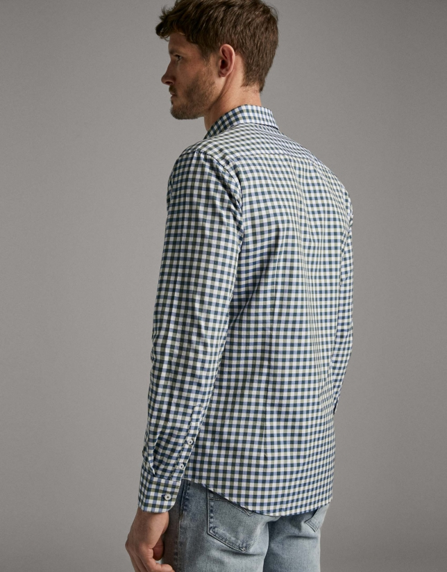Khaki checked Vichy sport shirt