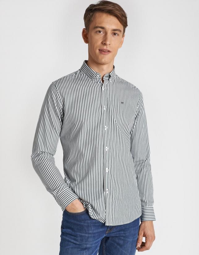 Khaki striped sport shirt