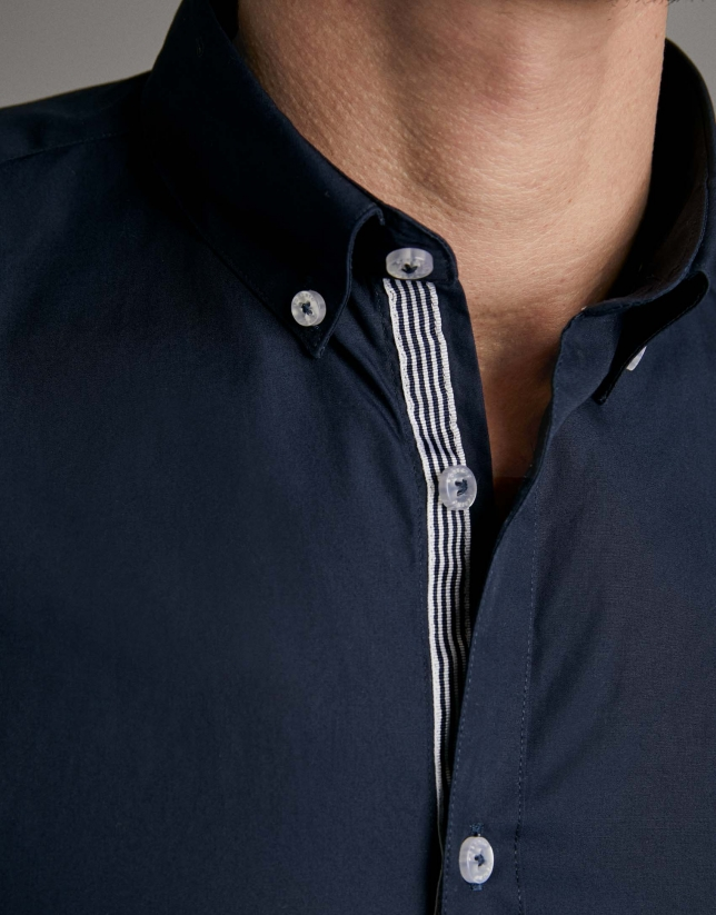 Navy blue poplin sport shirt
