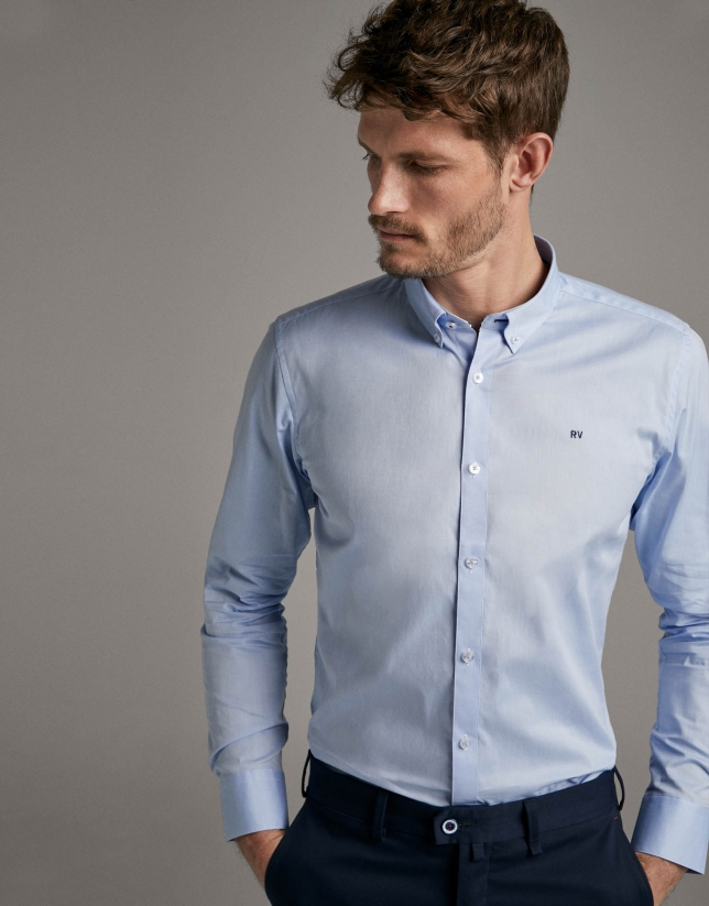 Camisa sport oxford celeste