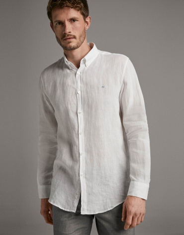 Camisa sport regular fit lino blanco