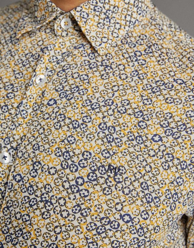 Camisa sport estampado flores amarillo
