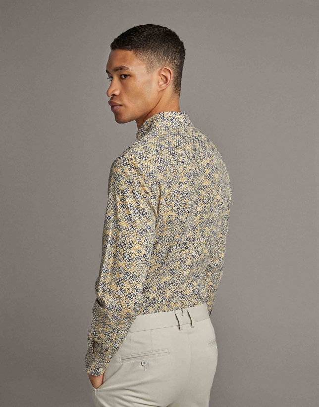 Yellow floral print sport shirt