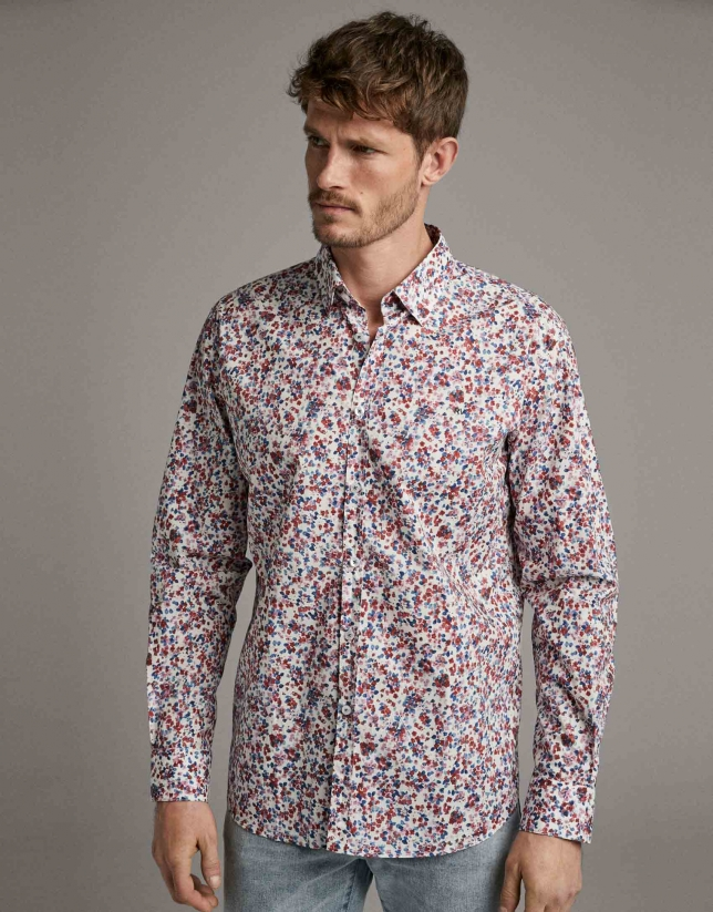 Dark red/blue floral print sport shirt