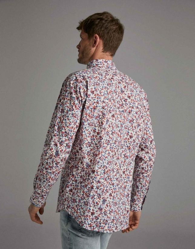 Camisa sport estampado flores acuarela rojo oscuro/azul