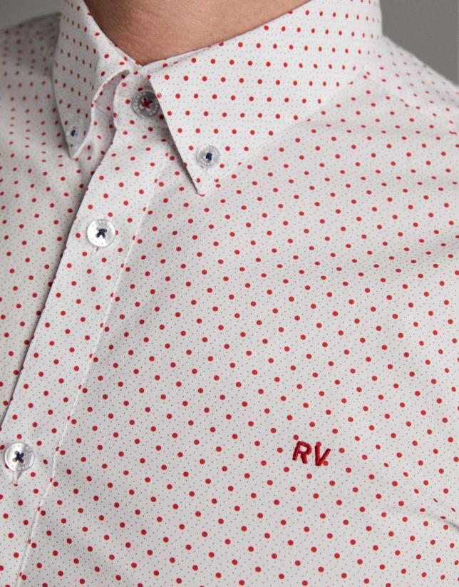Camisa sport estampado puntos rojos