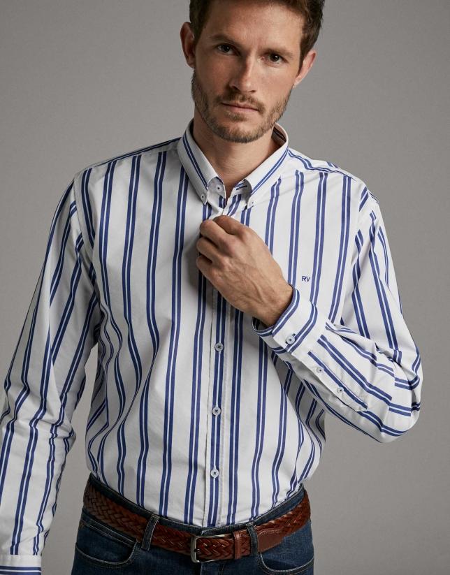Camisa sport rayas azul oscuro/blanco
