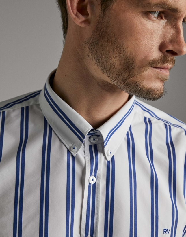 Dark blue and white sriped sport shirt